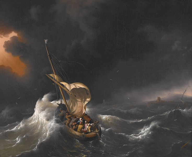 """Christ in the Storm on the Sea of Galilee"" karya Ludolf Backhuysen (1695). Diunduh dari http://commons.wikimedia.org/"