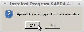 Karena kita pasang di Linux, klik Yes