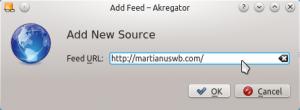 Akregator: ketikkan alamat URL