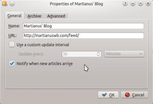 Akregator: setting feed