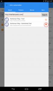 gReader - menambahkan langganan RSS