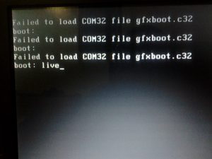 Failed to load COM32 file gfxboot.c32